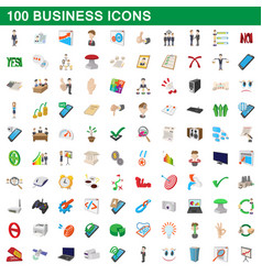 100 business icons set cartoon style vector