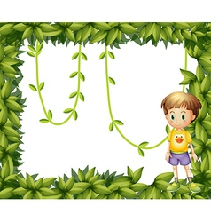A child on a leafy frame vector