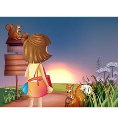 A little girl with a shoulder bag vector