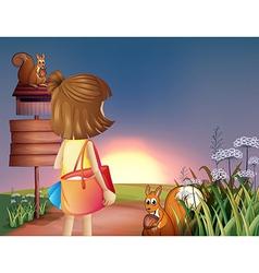 A little girl with shoulder bag vector