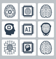 Artificial intelligence and robot icon set vector