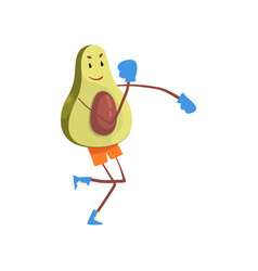 avocado boxer in boxing gloves funny exotic fruit vector image