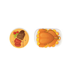 baked turkey with orange and steak outumn food vector image