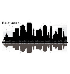 Baltimore maryland city skyline silhouette with vector