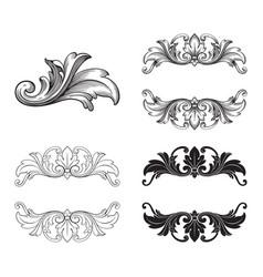 Baroque set of vintage elements vector