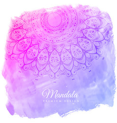 beautiful watercolor background with mandala art vector image