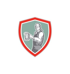 Benjamin Franklin Holding Beer Shield Retro vector