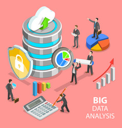 Big data analysis flat isometric concept vector