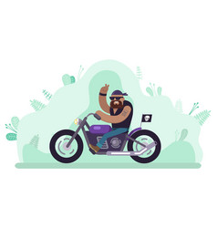Biker man riding bike character on motorcycle vector