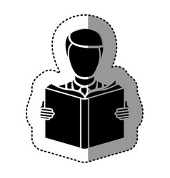 Black silhouette sticker with man reading a book vector