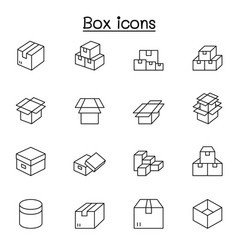 Box icons set in thin line style vector