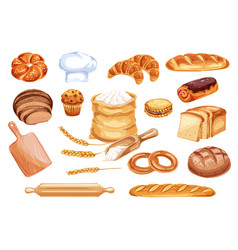 Bread watercolor icon of bakery and pastry food vector