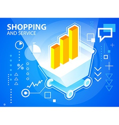 Bright shopping trolley and bar chart on blu vector
