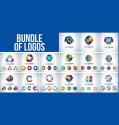 bundel of logo 3d hexagon vector image
