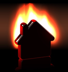 Burning home icon in flames vector image
