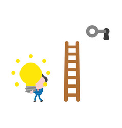 Businessman climb to ladder unlock with key and vector