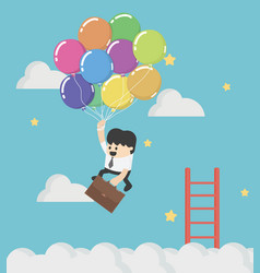 Businessman fly up away high on balloon concept vector