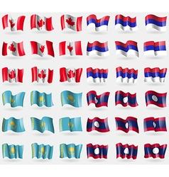 Canada Republic Kazakhstan Laos Set of 36 flags of vector