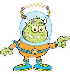 Cartoon alien pointing vector image