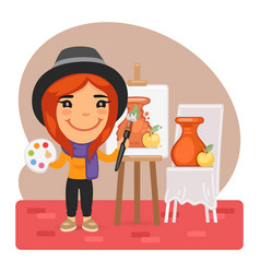 cartoon artist girl and easel vector image