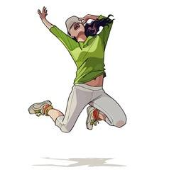 Cartoon girl jumping vector