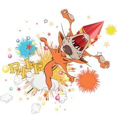 Cat flying on fireworks vector image