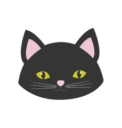 cat portrait cute pink ears yellow eyes vector image