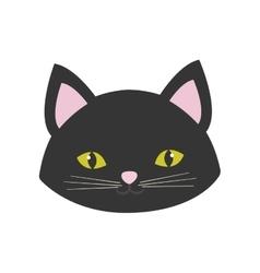 Cat portrait cute pink ears yellow eyes vector