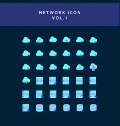 cloud computing network flat style design icon vector image