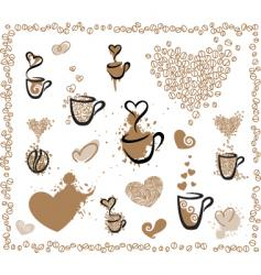 coffee set hearts vector image