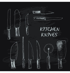 Collection kitchen knives vector