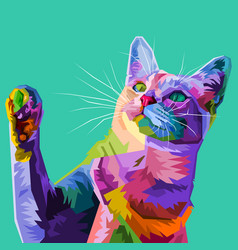 Colorful cat on abstract pop art vector