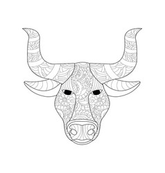 Cow head coloring for adults vector