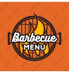 Creative logo design with bbq grill and flame vector