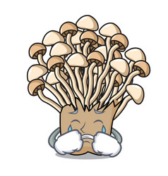 Crying enoki mushroom mascot cartoon vector