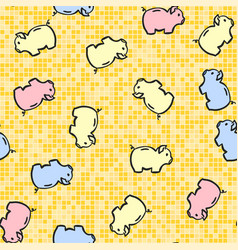 cute piggy bank seamless pattern isolated vector image