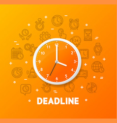 deadline concept with realistic detailed 3d wall vector image