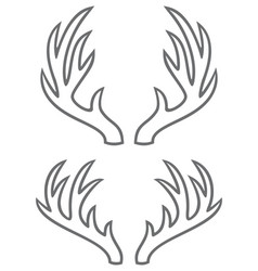 deer horns thin line icons vector image