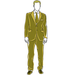 drawn man in green suit vector image