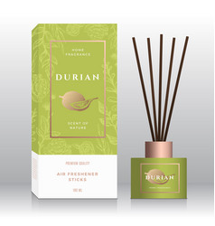 Durian home fragrance sticks abstract label vector