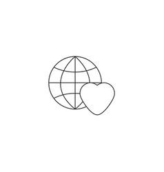 Earth globe love icon vector