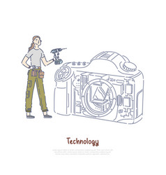 female technician holding drill girl fixing vector image