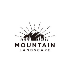 forest and mountain landscape logo icon template vector image