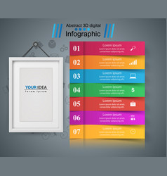 Frame paper business infographic seven items vector