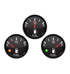 fuel gauge set of round black car dashboard 3d vector image