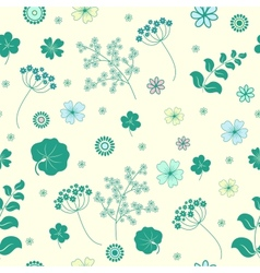 Garden flowers and herbs seamless background vector image