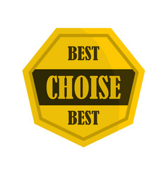 golden best choise label icon flat style vector image
