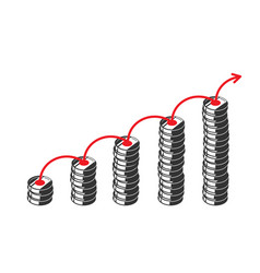graph out silhouettes coin columns and red vector image