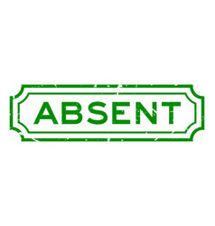 Grunge green absent word rubber business seal vector