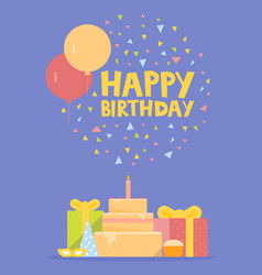 happy birthday card design with balloons confetti vector image